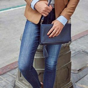 GiGi NY Crossover Leather Embossed Python Bag